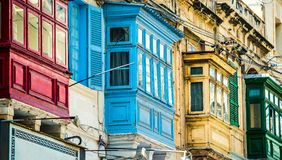 Street with balconies in Valletta. Traditional balconies in historical center of Valletta in Malta Stock Photography