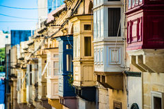 Street with balconies in Valletta. Street with traditional balconies in historical center of Valletta in Malta Stock Photography