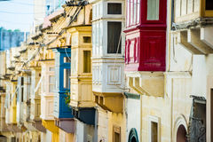 Street with balconies in Valletta. Street with traditional balconies in historical center of Valletta in Malta Stock Image