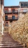 Street with balcony of Albarracin Stock Photography