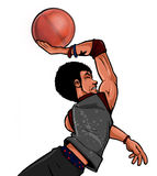 Street Ball basketball Streetballer Dunk. Street Ball baller basketball player with afro and style dunking Royalty Free Stock Image