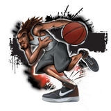 Street Ball Tendon Injury Basketball. Urban Hip Hop style illustration showing street ball basketball player dribbling, injuring achilles tendon Stock Images
