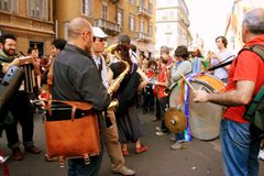 Street band musicians Liberation Day, Milan Royalty Free Stock Images