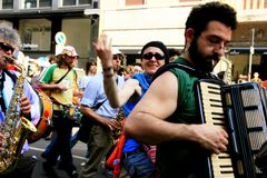 Street band musicians parade, Milan - Italy Stock Images