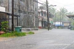 Street of Bang Muang town at heavy rain Royalty Free Stock Photo