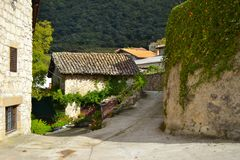 Street in Baquedano, a small town in Navarre, Spain. Road to Urederra royalty free stock photos