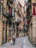 Street in Barcelona, Spain. Small street in Barcelona, Spain. This famous streets in barcelona royalty free stock photo