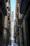 Street in Barcelona. Street View in Gothic Quarter in Barcelona Royalty Free Stock Images