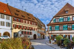 Street in Barr, Alsace, France. Street with historical half-timbered houses in Barr, Alsace, France royalty free stock image