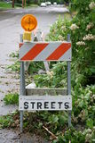 Street barricade. This barricade was blocking off a downed tree in the street stock photography