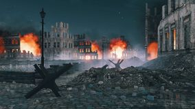 Street barricade in ruined after war city at night 4K. Ruined after the bombing of the World War 2 european city with burning building ruins and street barricade vector illustration