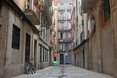 Street in Barselona, Spain. The Old Street in Barselona, Spain Royalty Free Stock Images