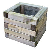 The street basket for garbage is made of wooden pine whetstones. Stock Images