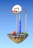 Street basketball concept. Over sky gradient background- 3D illustration Royalty Free Stock Images