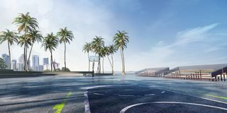 Street basketball court 3D illustration. Sunny day stock illustration