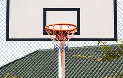 Street basketball.Basketball Hoop close-up, healthy lifestyle concept royalty free stock images