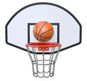 Street basketball kit. With backboard, hoop, chain net and ball Royalty Free Stock Photography