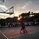 Street Basketball Match at sunset Royalty Free Stock Images