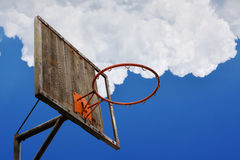 Old basketball hoop and a back board Stock Images