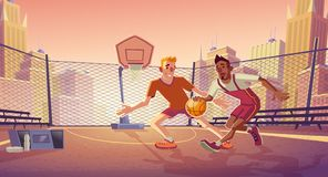 Street basketball on city outdoor court vector. Street basketball players cartoon vector with young caucasian and african american men playing ball on outdoor stock illustration