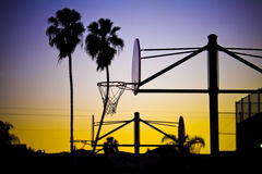Street basketball in sunset california Royalty Free Stock Photo