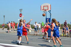 Street basketball among women's teams on the street in Tyumen, R Royalty Free Stock Images