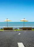 The street and beach chair on sea view Royalty Free Stock Image