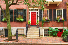 Street at Beacon Hill neighborhood, Boston Royalty Free Stock Image