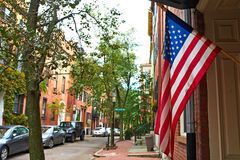 Street at Beacon Hill neighborhood, Boston Royalty Free Stock Photos