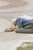 Street Beggar. Down and out on the beach in Tel Aviv Stock Photos