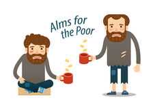 Street beggar. hungry man asks for money with a mug in hand. Royalty Free Stock Photography