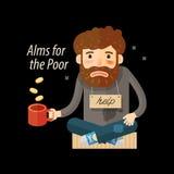 Street beggar. Unemployed or homeless icon. Alms vector illustration Stock Image
