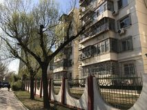 Street in Beijing. Old apartment building on one of the Beijing Stock Images