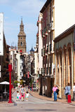 Street with Bell tower of Con-Cathedral. Logrono, Spain Royalty Free Stock Photography