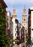 Street with Bell tower of Con-Cathedral. Logrono Royalty Free Stock Images