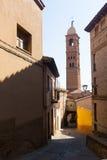 Street with belltower in  Tarazona. Stock Photo