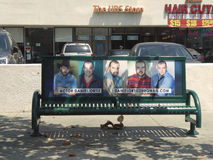 Bench covered with an actor`s portfolio, Beverly Hills, California, circa may 2017. Stock Images