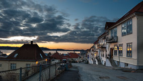 Bergen by night. Street in Bergen city in Norway by night Stock Photography