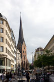 Street Bergstrasse Hamburg. The pictue shows a part of old Hamburg - street Bergstrasse and view of St.Peter church Stock Photography