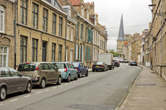 Street in bergues in france Stock Photo