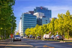 Street of Berlin with modern architecture in Germany. Berlin, Germany - June 15, 2017: Street of Berlin with modern architecture in Germany. Berlin is the Royalty Free Stock Photo