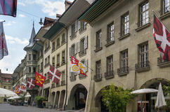 Street in Bern, Switzerland. Street with historic building in Bern center, Switzerland Royalty Free Stock Photos