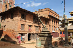 Street in Bhaktapur, after the 2015 earthquake, Nepal Royalty Free Stock Photo