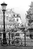 Street bicycle The Netherlands. Black and white image of a street in the netherlands. Typical view of a lamp and a bicycle Royalty Free Stock Image