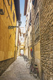 Street with bicycles in Florence in Italy in summer Stock Images