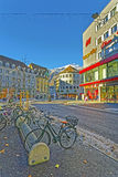 Street with bicycles in the Old Town of Chur royalty free stock images