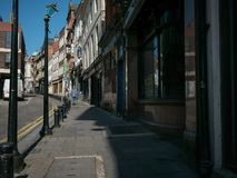 Street in Bigg Market area in Newcastle - once a thriving area now derelict. Run-down street in Bigg Market area in Newcastle - once a thriving area now derelict royalty free stock images