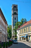 Street in Bihac with destroyed christin church. Bosna and Herceg. Ovina Stock Photography