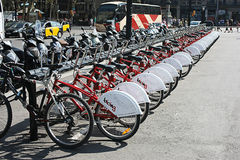 Street bike lending point in Barcelona Stock Images