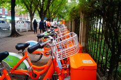 Bicycle rental facilities in the streets of the city. Street bike rental facilities, convenient for people to use public bicycles. In Shenzhen, china Stock Images